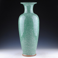 Цзиндэчжэнь керамика зеленый фарфор антикварная вазы взломать французский мебель и украшения большая ваза