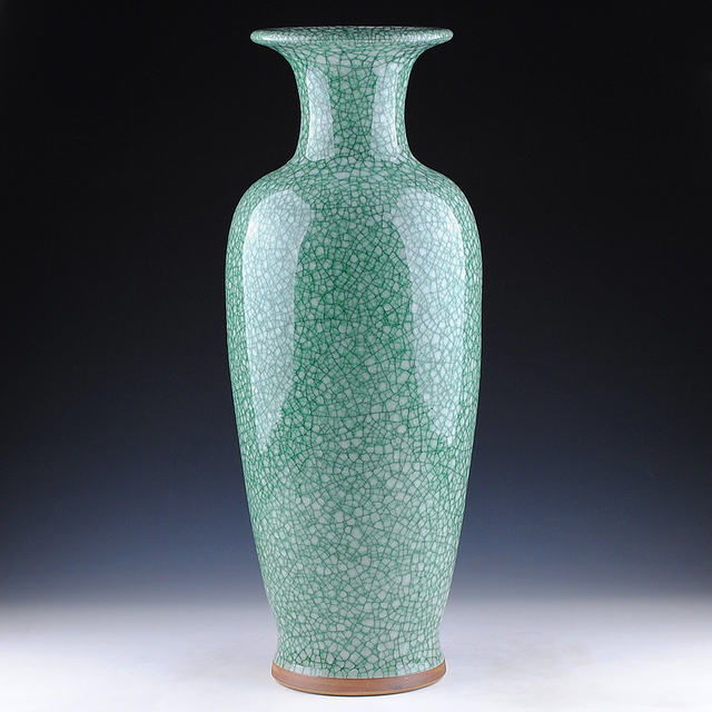 Jingdezhen Ceramics Green Porcelain Antique Vases Crack Open French
