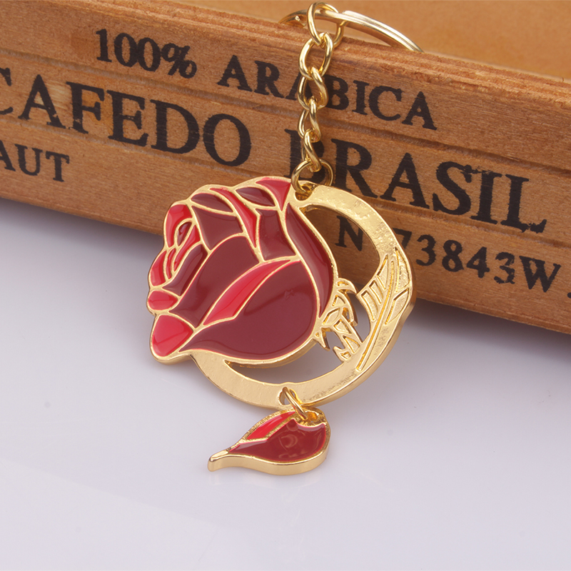 M2 Beauty and the Beast Golden Charm Keychain Red Rose Alloy Keyring For Men and Women Key Ring Best Gifts