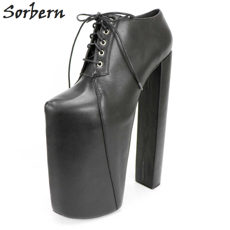 Sorbern Sexy Chunky Heeled Thick Platforms Ankle Boots For Women Fetish Shoes Display Show Boots Unisex 20-30cm High Heels