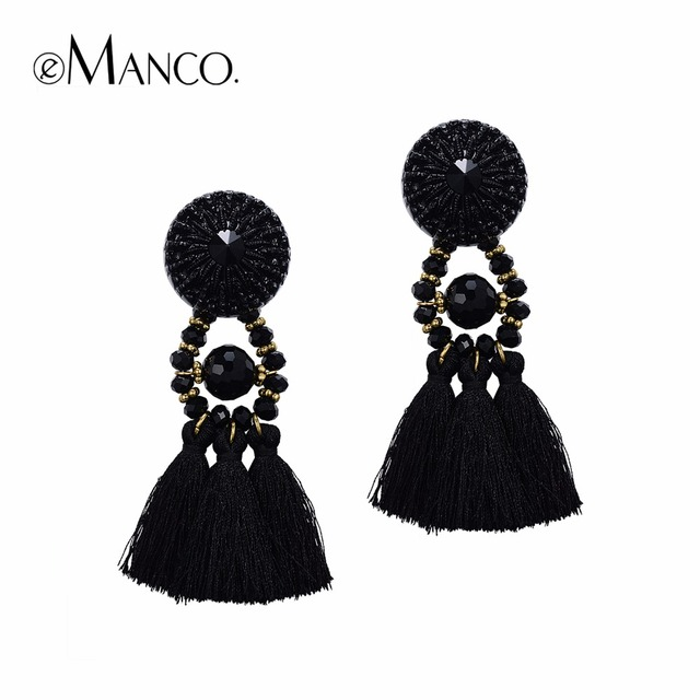 eManco women's long earrings hanging drops tassels earring for women ethnic statement dangle earring with stone black bijouterie