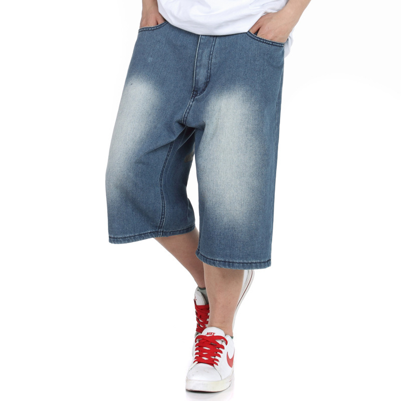 f69c67f537 Big size jeans short baggy loose hip hop pants blue casual rap jeans for rapper  boy s calf length jeans hiphop big size 30 46-in Jeans from Men s Clothing  ...