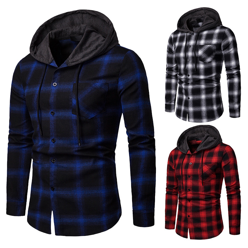 Mens Shirts New Arrrival Spring And Autumn Plaid Casual Hooded Long-sleeve Shirt