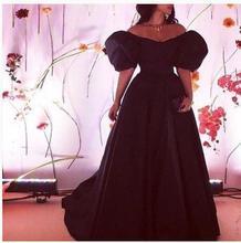 2017 elegante Günstige Abendkleid Abendkleid Schwarz Kappen-hülsen Satin Lange Neue Ankunft Prom Kleider Abendkleid Kleid