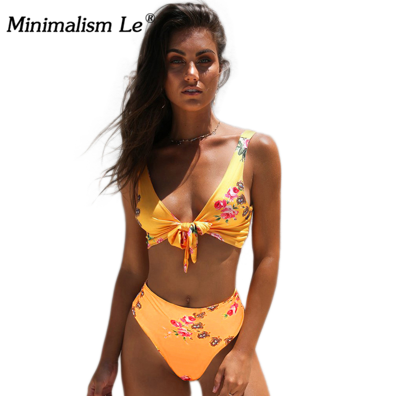 Minimalism Le High Waist 2018 Sexy Bikini Print Swimsuit Women Bandage Floral Bikini Sets Backless Beach Wear Swimwear sexy minimalism bikini top