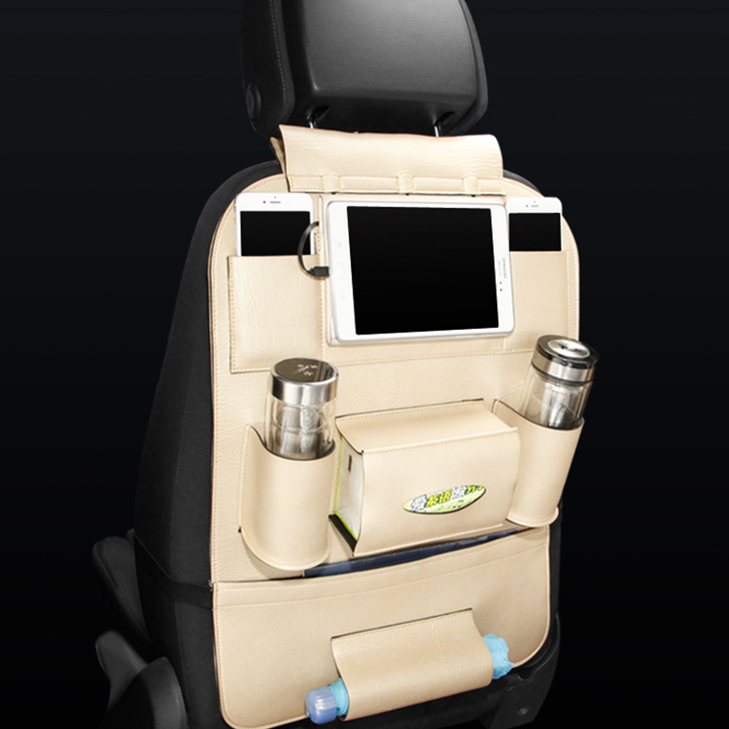 Seat Bag With Wires For Ipad Iphone Charger Car Auto Seat Back Bag Organizer Holder Multi
