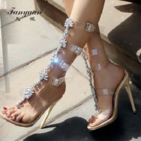 Fanyuan sexy High heeled Sandals women Transparent Buckle strap Gladiator Sandals Summer Peep toe Diamonds Wedding bridal shoes