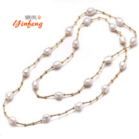 [MeiBaPJ]100% Real Freshwater Pearl Necklace For Women Wedding Jewelry Simple style Long Sweater Necklace Handmade Jewelry