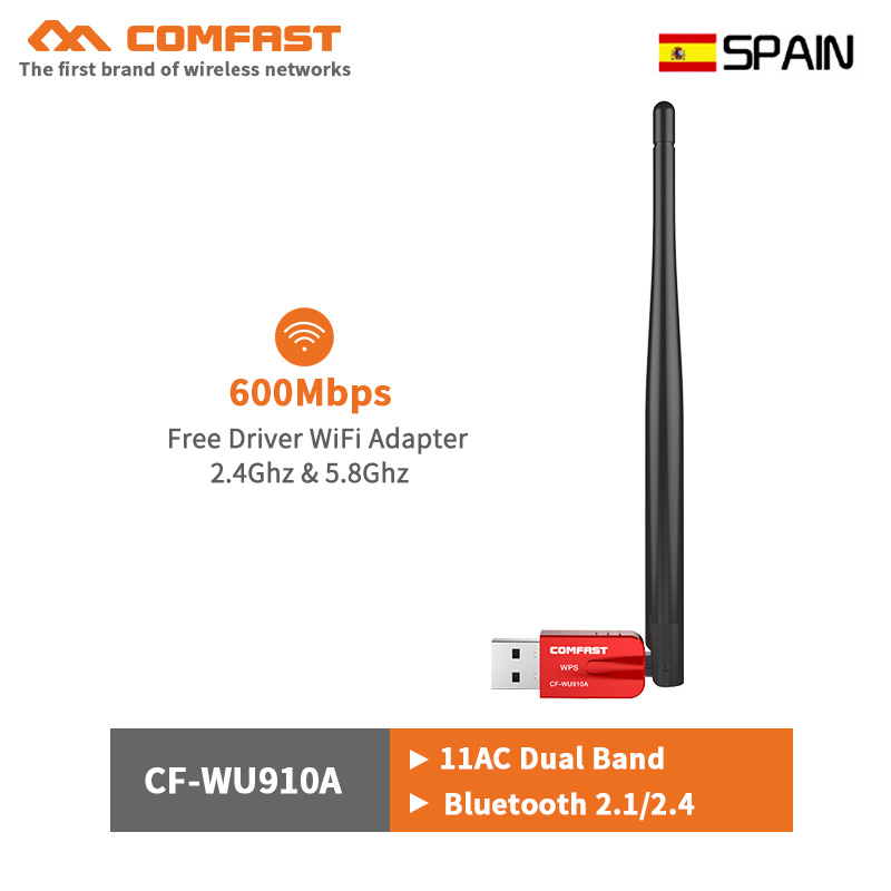 Dual Band 600Mbps Free Driver Wireless WIFI Bluetooth 4.0 Usb Adapter 5dbi Antenna 5.8G Pc Computer Network Card Wi Fi Emitter