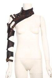 RQ серия стимпанк женские кожаные гетры для рук Длинные перчатки без пальцев с поясом коричневые рукава для защиты рук