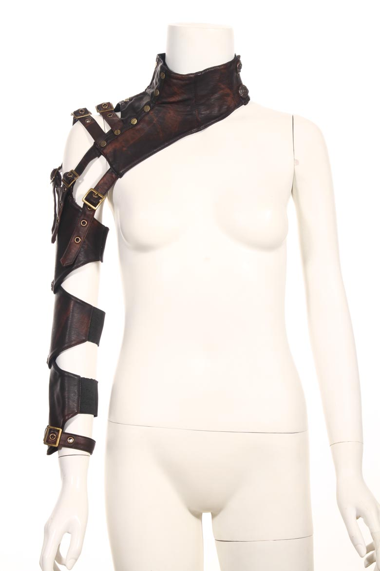RQ Series Steampunk Female PU Leather Arm Warmers Long Fingerless Arm Warmer With Belt Brown Arm Sleeves For Arm Protection
