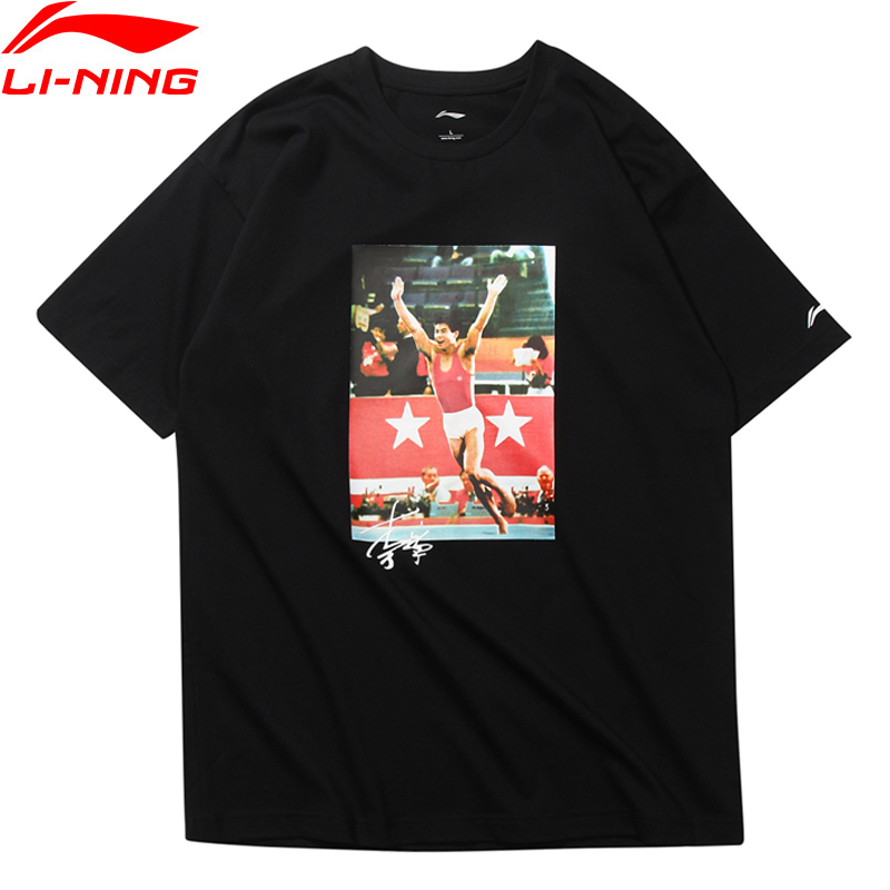 цена на Li-Ning Men T-Shirt NYFW LI-NING VINTAGE Mr. Li OG PRINT TEE Regular Fit Cotton Polyester LiNing Sport Tee Tops AHSN693 MTS2730