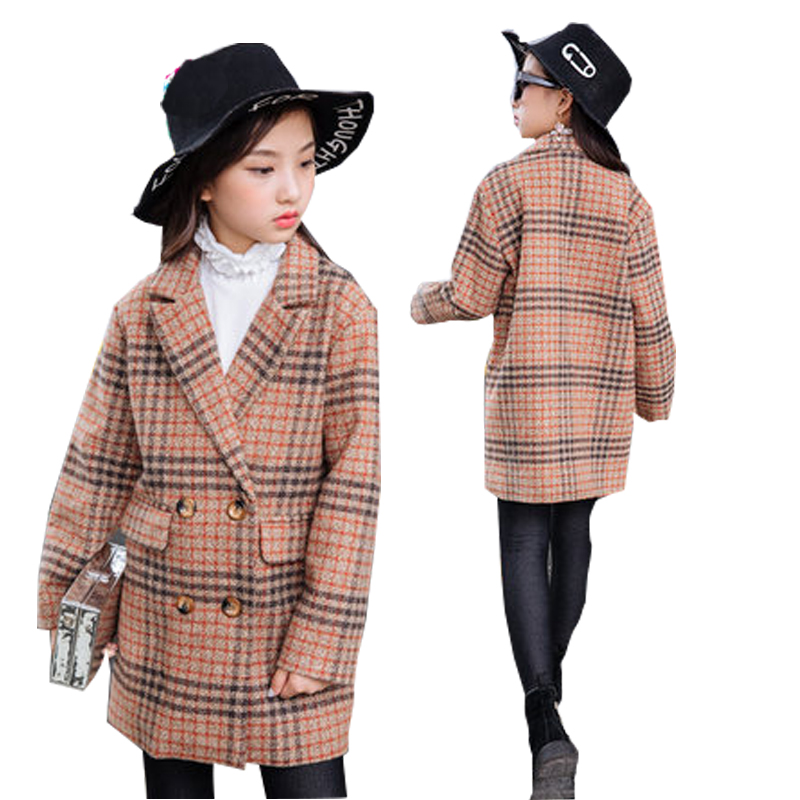 все цены на Teen Girls Wool Coat Thick Fashion Plaid Overcoat Kids Jacket for Girls Winter Coat Outerwear Children Clothing 12 14 15 years