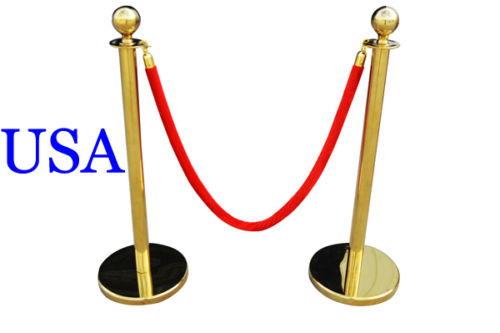 HOT Rushed 2 Pcs Velvet Rope Stanchion Gold Post Crowd Control Queue Line Barrier New