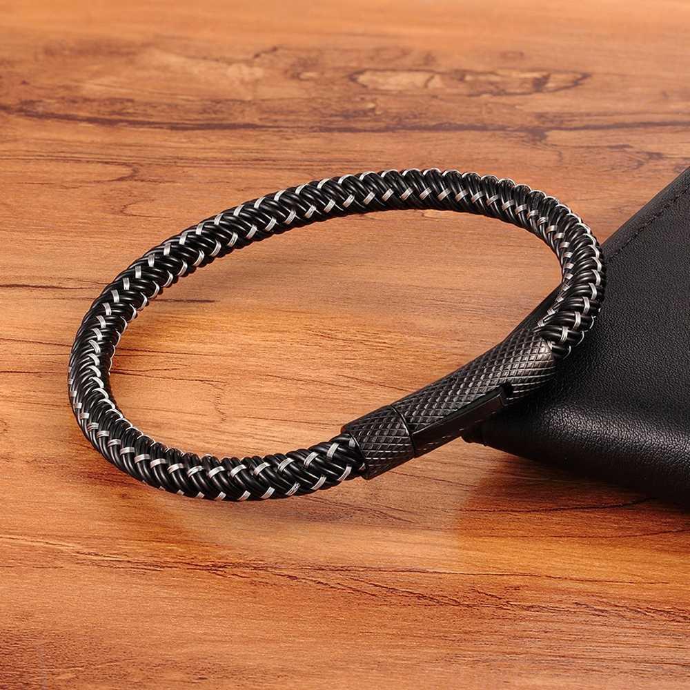 XQNI פאנק הליכי כפתור מתכת אריגת צמיד לגברים נשים נירוסטה משתרג קלאסי סגנון קסם שחור באיכות גבוהה
