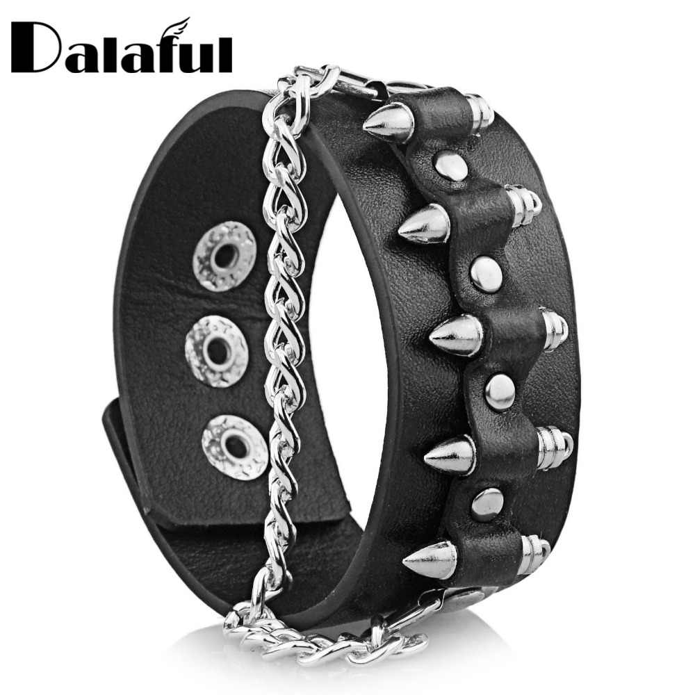 Punk gótico única forma de bala elo de corrente rock manguito legal pulseira de couro bangle s061