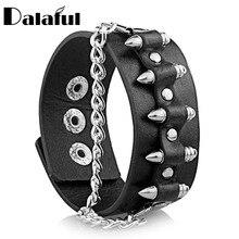 Gothic Punk Unique Bullet Shape Chain Link Rock Cool Cuff Leather Bracelet Bangle S061