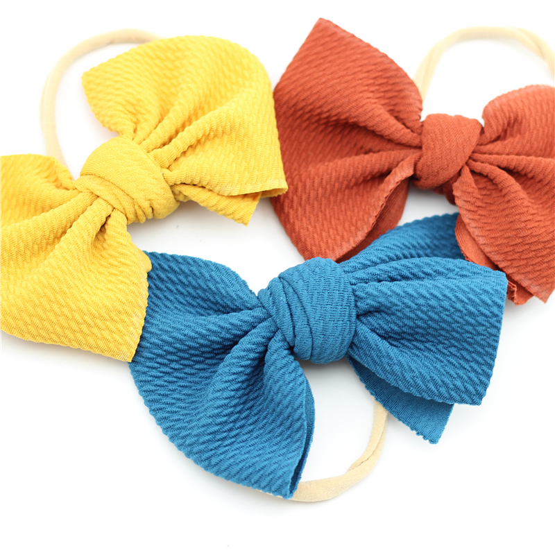 Big Bow Headband Girls Nude Nylon Bowknot Headbands Large Messy Bow Hair Turban Infant Head Band Bebes Infant Cotton Headwrap