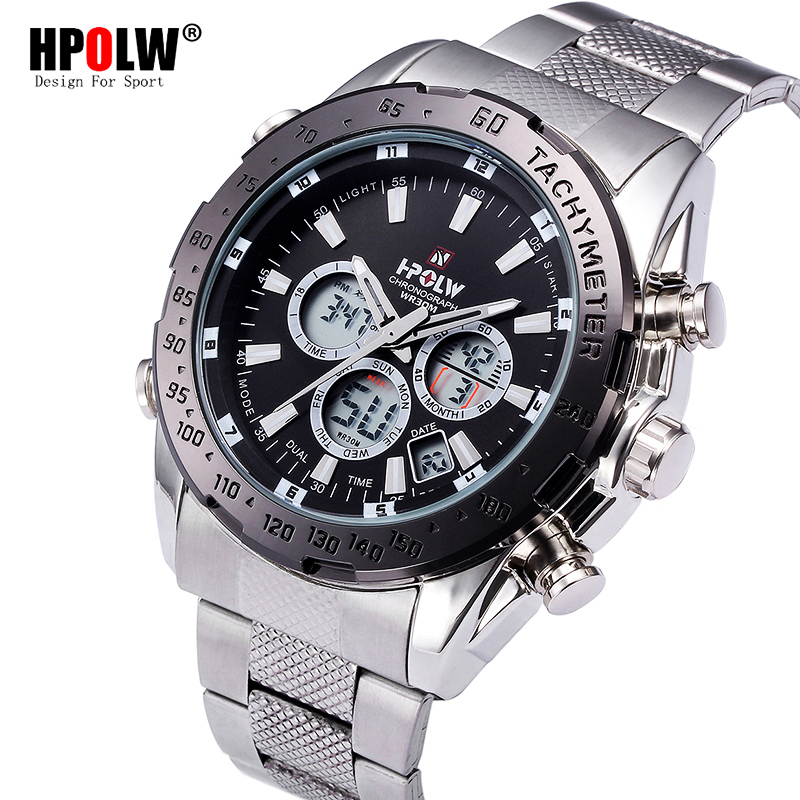 HPOLW Luxury Brand Mens Sports Watches Digital LED Military Watch Men Fashion Casual Steel Electronics Wristwatches Hot Clock
