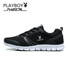 PLAYBOY Discounts 2016 Fashion Autumn Lightweight Breathable Mesh Men Casual Shoes Adult Flat Men's Shoe Lace-up Plus Size Shoes(China)