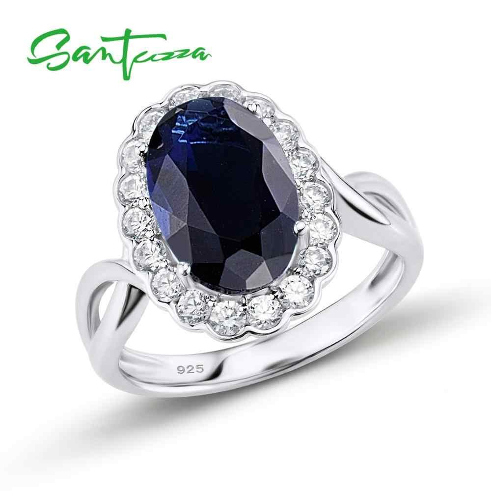 SANTUZZA เงินแหวนแหวนหมั้นแต่งงานแหวนสีขาว Cubic Zirconia CZ บริสุทธิ์แท้ 925