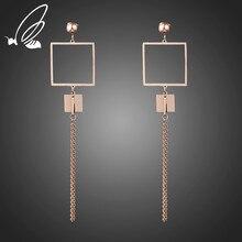 S'Steel New Fashion Statement Drop Earrings Women Fashion Jewelry Rose Gold Color Tassel Long Dangle Earrings Wedding Jewelry цена