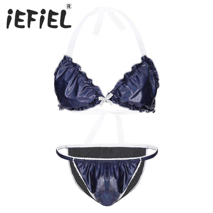 iEFiEL Sexy Mens Lingerie Underwear Men Shiny Metallic Nightwear Sleepwear Bikini Lingerie Set Halter Bra Top with Bikini Brief