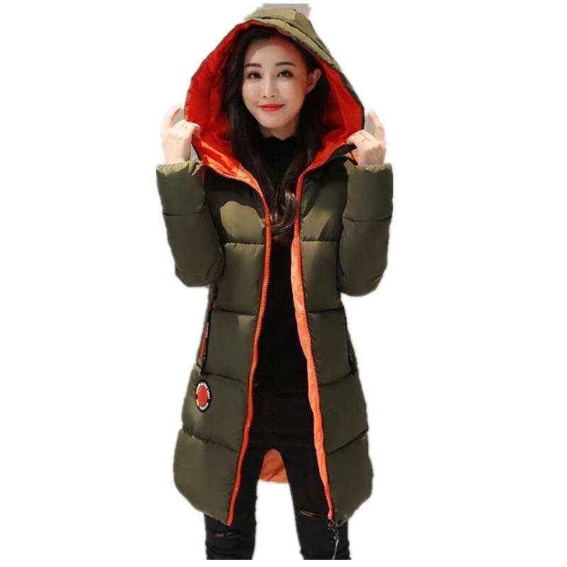 2017 Winter jacket women Thick Long Women   Parkas   Hooded Female Outwear Coat Down Cotton Padded Snow Wear K037