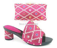Item No.ZD-0081 FUCHSIA High quality Italy shoes and bag set Open toe African wedding party slipper with clutch