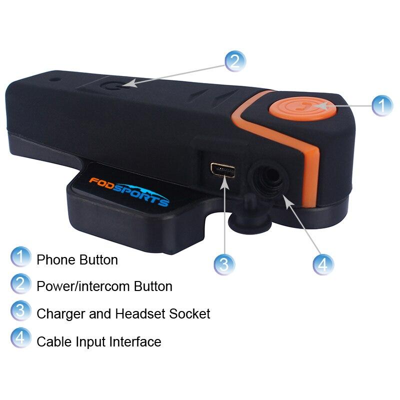 Sports nautiques BT-S2 Pro Interphone Moto Casque Casque étanche bluetooth sans FIL BT Interphone FM Radio Stéréo musique - 3