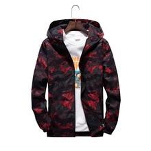 Spring Autumn Mens Casual Camouflage Hoodie Jacket Men Waterproof Clothes Men's Windbreaker Coat Male Outwear plus size XS-7XL