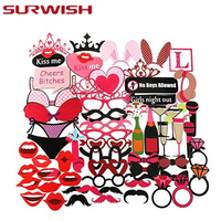 SURWISH Funny Party Photo Taking Props Set Wedding Party Night Games Take Photo Booth Background