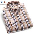 Langmeng 2016 Brand 100% cotton hot selling men casual shirts mens long sleeve spring autumn plaid shirts male dress shirt