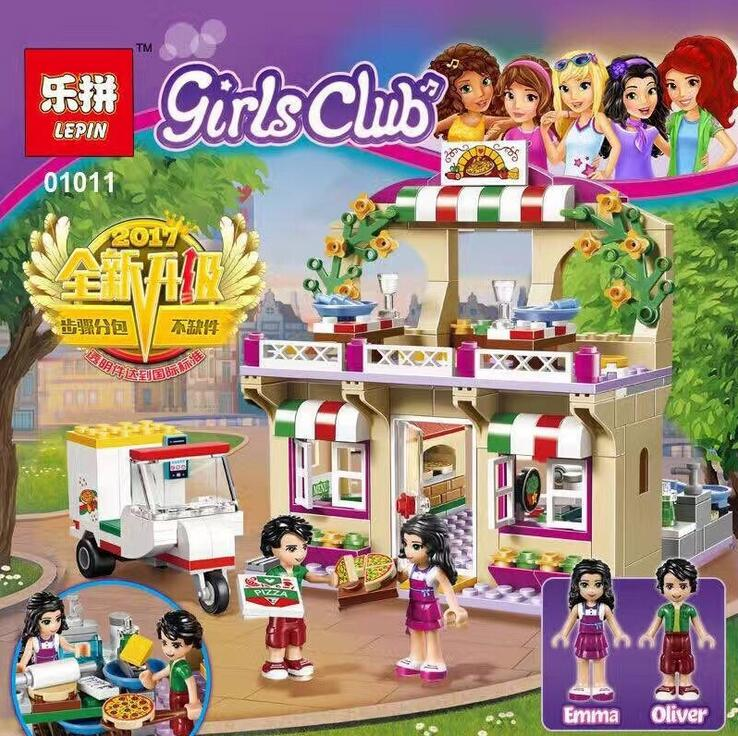 Lepin 01011 Friends Bricks 299pcs Building Blocks toys Heart Lake City Pizza Restaurant kids toy girl gifts CompatibleLegoe41311