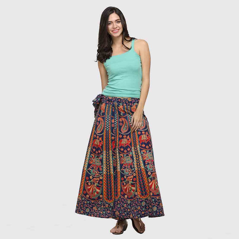 Mix Flower Print Boho Maxi Warp Around Skirt For Women Paisley Quilted Gypsy Tribal Folk Long Skirt Vintage Hippie Outfit Ladies
