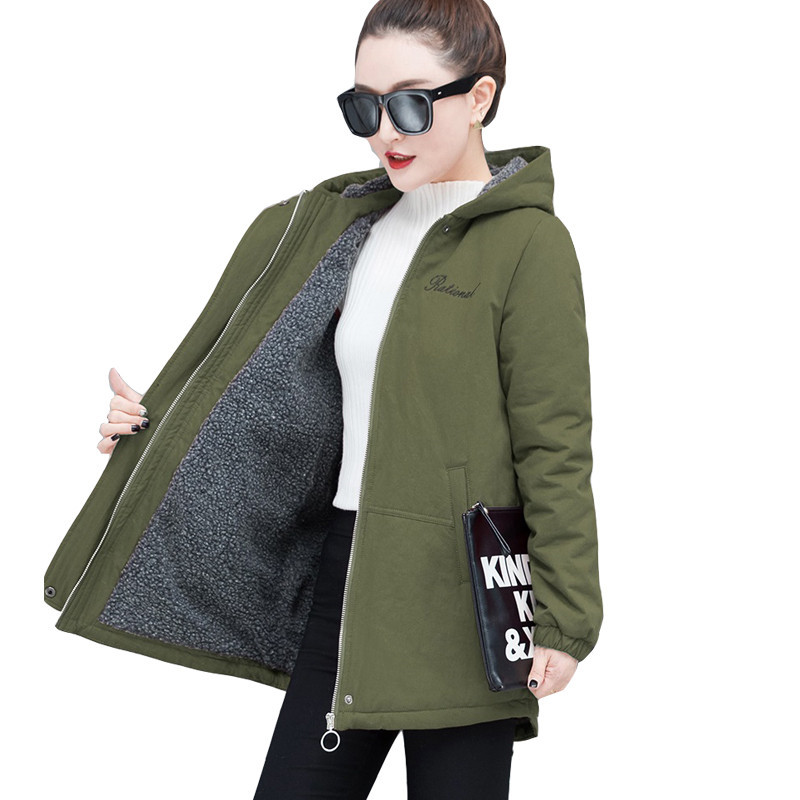 Plus Velvet Windbreaker Female Long Sleeve Overcoat Long Hooded Casual Trench Coat Waterproof Raincoat Business Outerwear L25