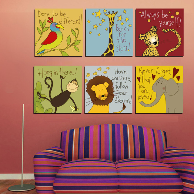 Us 25 19 37 Off 6 Pieces Cartoon Animals Canvas Painting Prints Wall Pictures For Kids Bedroom Pictures No Frame Cute Kids Room Wall Painting In