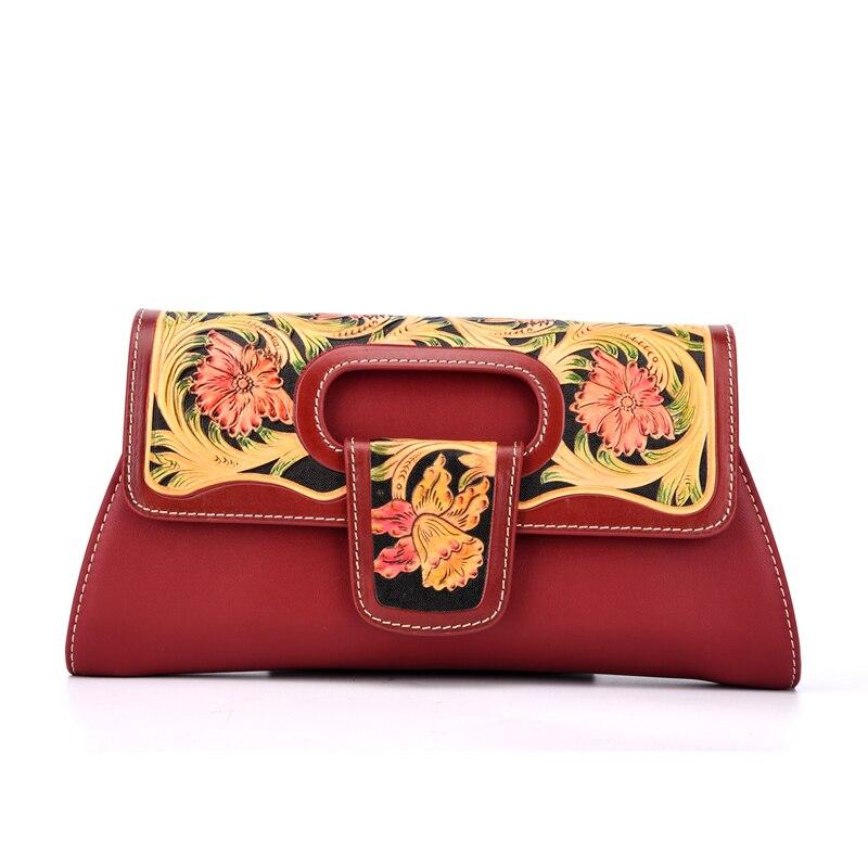 Chinese Engraved Designer Genuine Leather Women's Flap Bag Ladies Flower Clutch Purse Vintage Female Single Cross Shoulder Bag