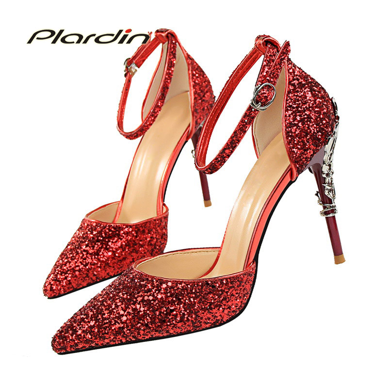 plardin New women Crystal Ankle Strap Bling Metal Decoration shoes woman pointed toe Thin Heels women's Buckle pumps high heels women slingbacks shoes with pointed toe buckle strap perspex design crystal decoration ladies dress and party shoes high heels