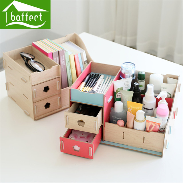 Colorful Multifunction Creative Desktop Office Supplies Storage Box Wooden  Cute Cosmetics Organizer HSB195