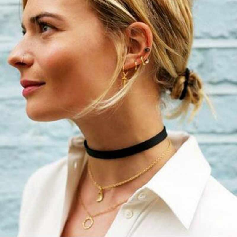แฟชั่นกำมะหยี่สีดำสร้อยคอ Choker สร้อยคอสักสร้อยคอผู้หญิง Chocker Collares Mujer Collier Femme Bijoux ของขวัญวันวาเลนไทน์