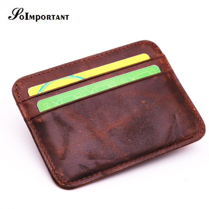 Vintage Ultra-thin Wallet Purse Genuine Leather Men Wallets Business Card Holder Crazy Horse ID Card Male Slim Carteira Magica ms brand men wallets dollar price purse genuine leather wallet card holder designer vintage wallet high quality tw1602 3