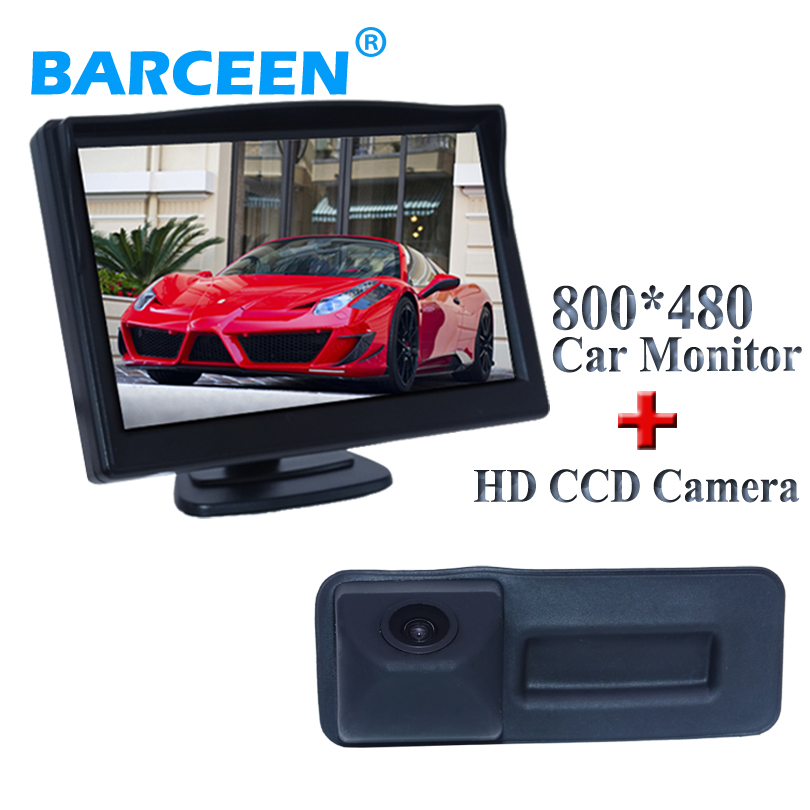 2 in 1 set with 5 car display monitor +170 degree car rear camera for Skoda Roomster Fabia Octavia Yeti superb for Audi A1