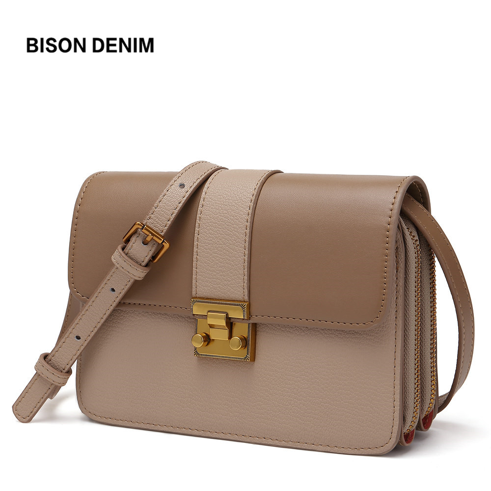BISON DENIM Famous Brand Women Bag Genuine Leather luxury handbags Female Messenger Bags Leather Crossbody Bags