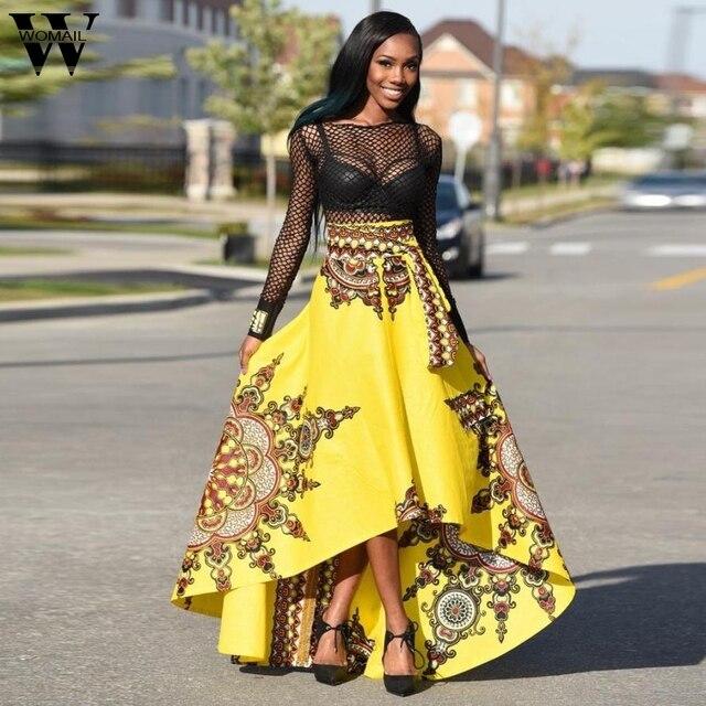 9943096c48 Womail dress Broadcloth Regular vestidos beautiful cheap dresses New  African Printed Summer Boho Beach Evening Party Maxi Jan1