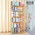 Bamboo solid panel reinforcement edition simple student bookshelf antique bookcase free combination of creative floor Shelves