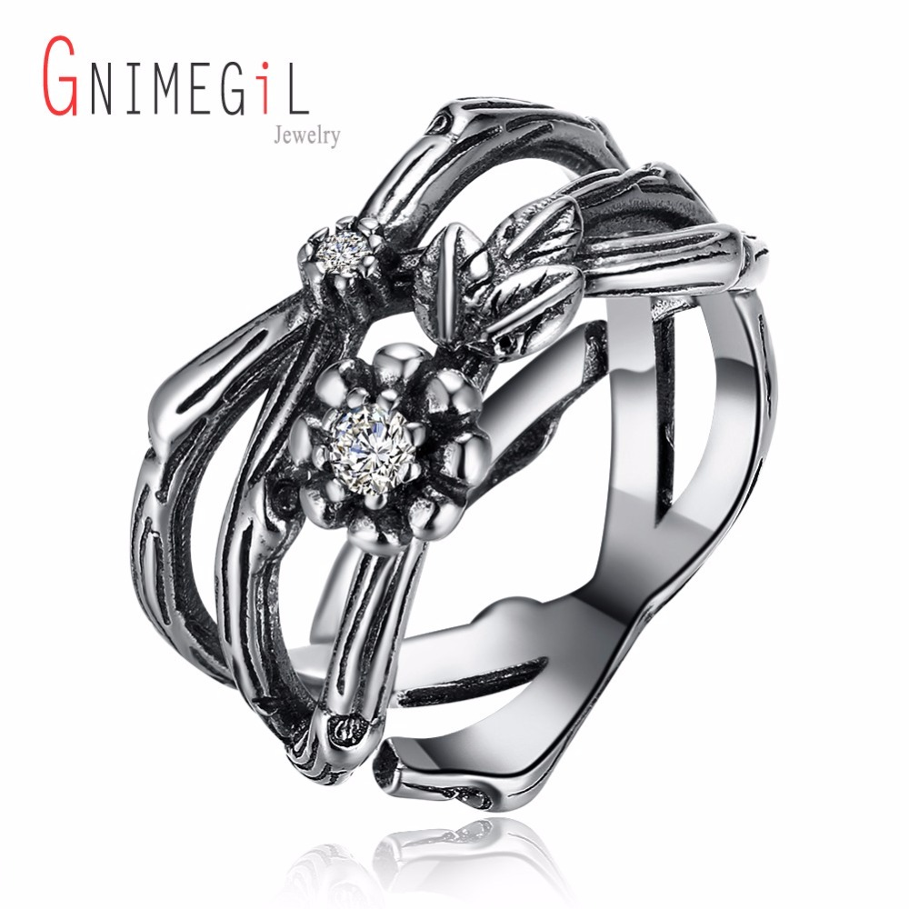 GNIMEGIL 925 Sterling Silver Flower&leaf shape ring for Femme Lady,Vintage Black color Cross ring Boho Finger Jewelry