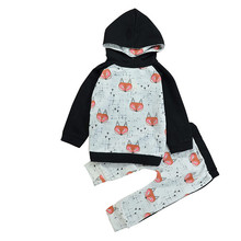 MUQGEW Toddler Boy Girl Baby Fox Printing Sweater Hoodies Tops Pants Set Clothing