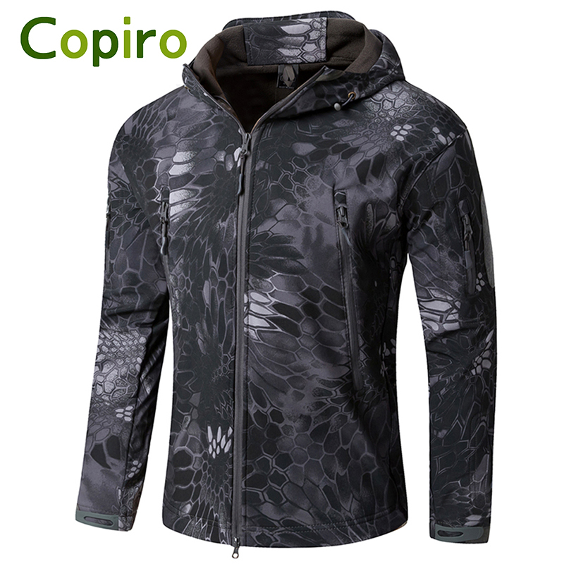 Copiro Winter Softshell Tactical Jacket Hiking Polar Fleece Men Shark Skin Ski Suit Windbreakers Camouflage Hunting Clothes