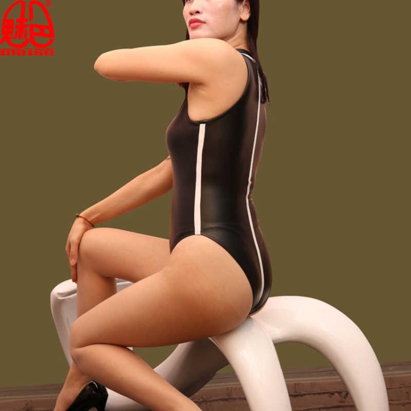 Phụ nữ Faux Leather Latex Matte Cắt Cao Bodysuit Sọc Cao cổ Một Mảnh Đồ Bơi Câu Lạc Bộ Đêm Erotic Dance Mang Đồ Lót FX83